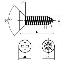 Dimensions of Self Tapping Screw